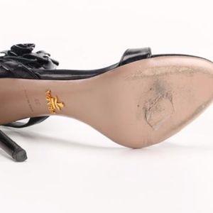Prada Shoes - Prada Black Floral Ankle-wrap Sandals
